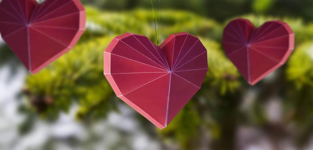 Kleine Schätze Papercraft Bastelbogen Christbaumbehang Herz Gratis Download