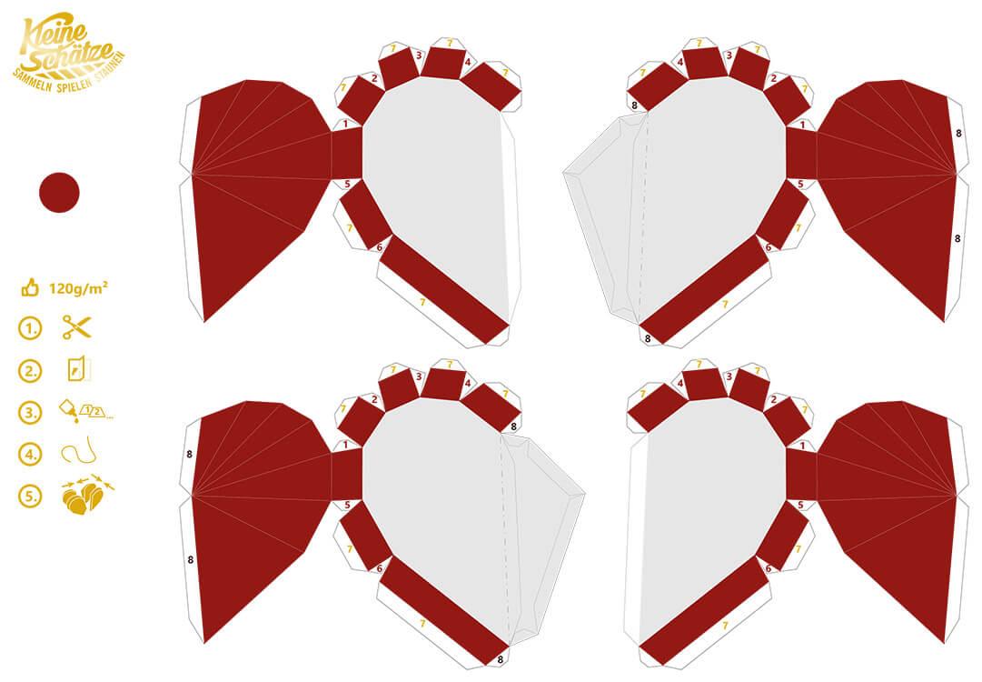 Kleine Schätze Papercraft Bastelbogen Christbaumbehang Herz Vorschau